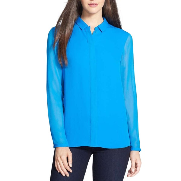 Elie Tahari Women's Stella Blue Silk XS Long Sleeve Blouse