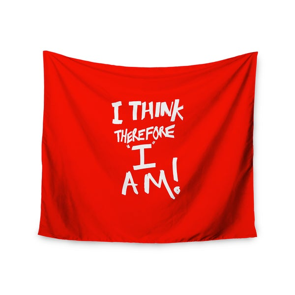KESS InHouse Bruce Stanfield 'I Think Therefore I Am' Red White 51x60-inch Tapestry