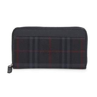 Burberry Men's Renfrew Charcoal, Red, and Black Leather Plaid Zip-around Wallet