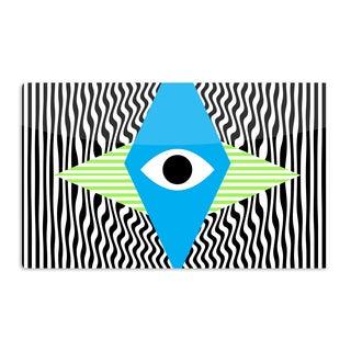 KESS InHouse Vasare Nar 'Eye Optical' Black Blue Artistic Aluminum Magnet