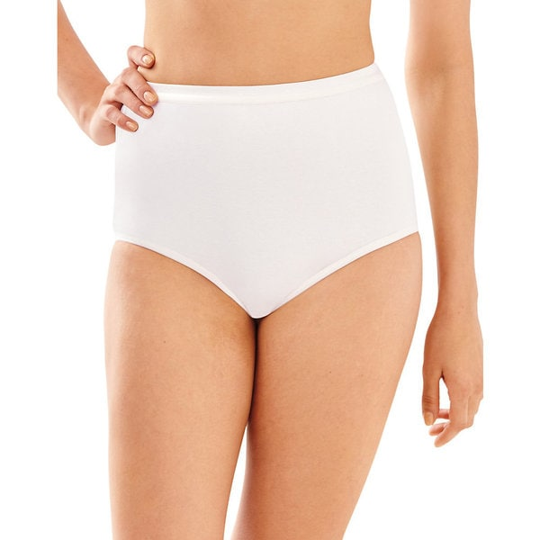 Bali Women's White Cotton/Spandex Full-cut Fit Stretch Brief
