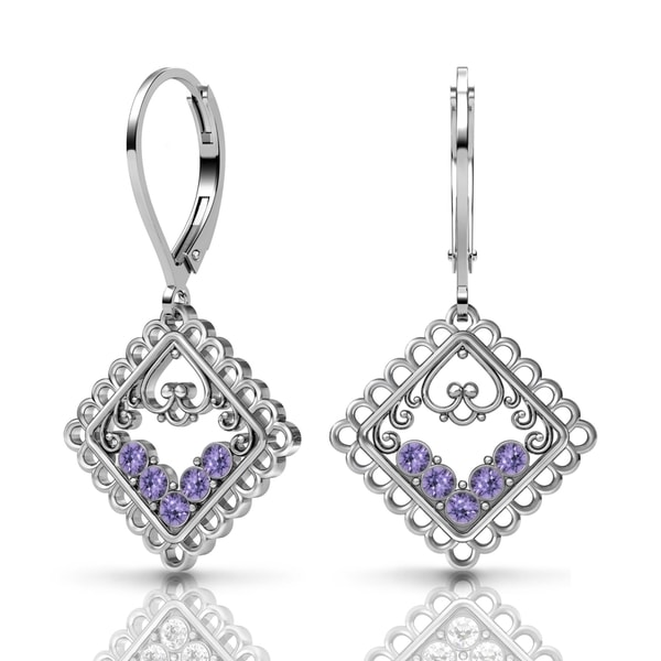 Lucia Costin Sterling Silver Tanzanite Swarovski Crystal Earrings