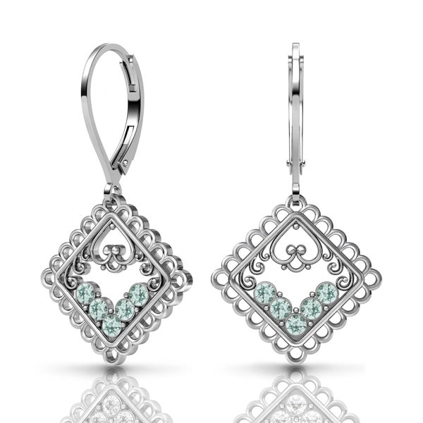 Lucia Costin Sterling Silver Light-Azore Swarovski Crystal Earrings