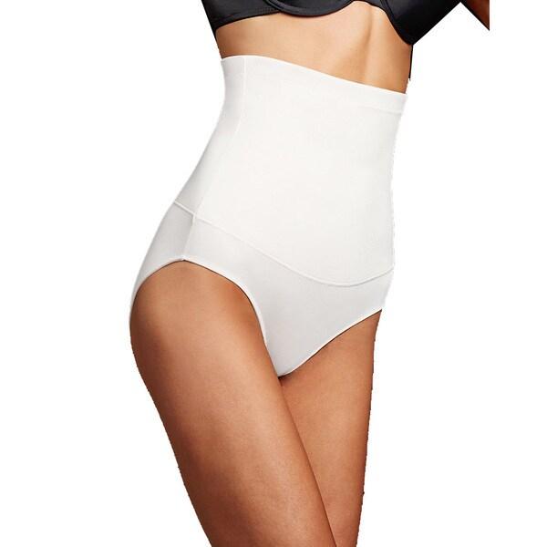 Maidenform Women's White Cotton/Spandex/Nylon Firm Control Hi-Waist Brief