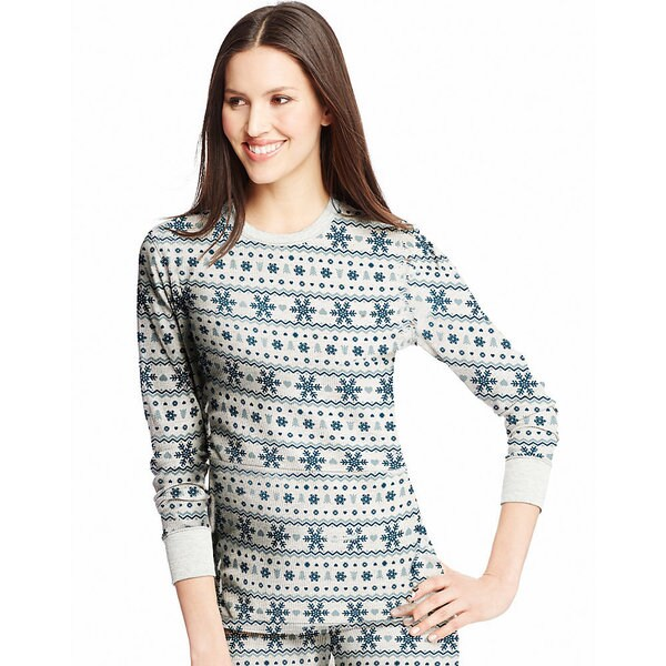 Hanes Women's X-temp White Cotton/Polyester Thermal Printed Crew Fairisle