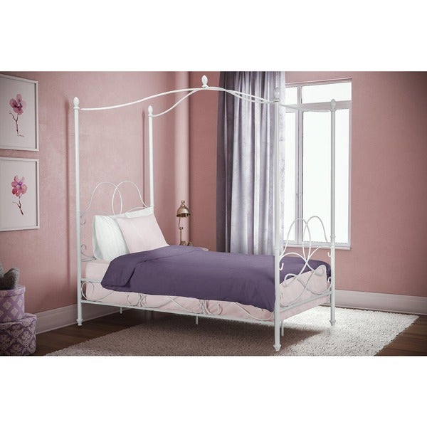 Avenue Greene Fancy White Metal Canopy Twin Bed