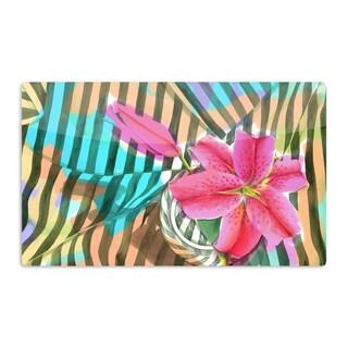 KESS InHouse S. Seema Z 'Lilly n Stripes' Pink Orange Artistic Aluminum Magnet