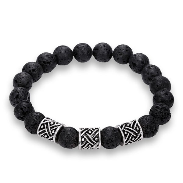 Natural Lava Stone Criss Cross Bead Bracelet