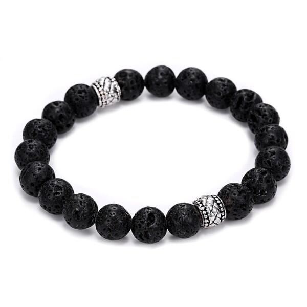 Natural Lava Stone 2 Bead Design Bracelet