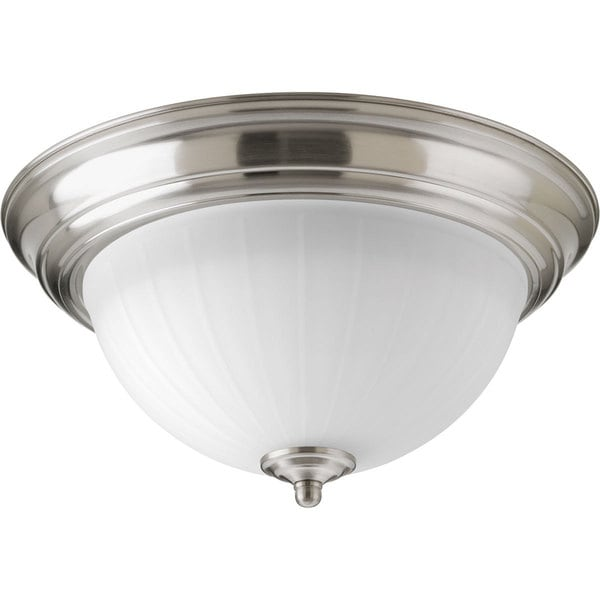 Progress Lighting Nickel Finished Steel and White Ribbed Glass LED Flush Mount With AC LED Module