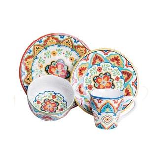 El Centro Multicolored Porcelain 16-piece Dinnerware Set