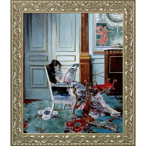 Giovanni Boldini 'Girl Reading in a Salon, 1876' Hand Painted Framed Canvas Art 19504297