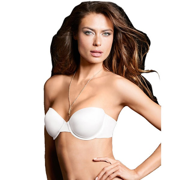 Maidenform Women's Devotion White Nylon Comfort Strapless Demi Multiway Bra