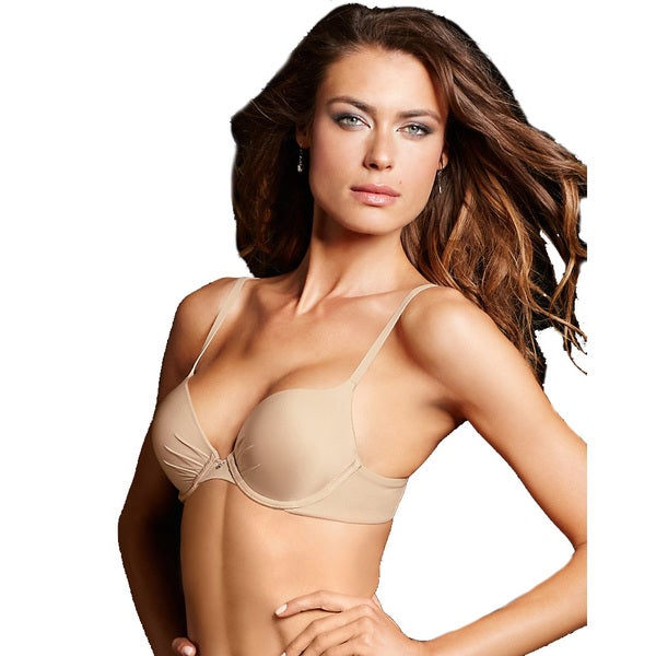 Maidenform Women's Comfort Devotion Nude Nylon Tailored Plunge Push-up Bra