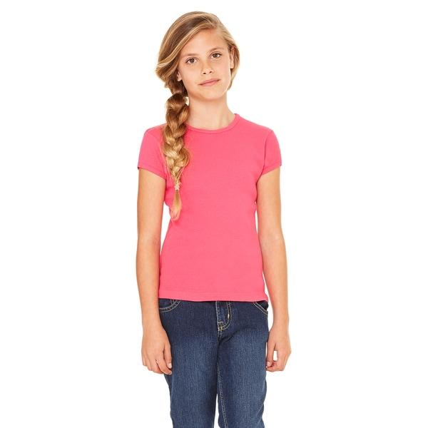 Girls' Fuchsia Cotton Stretch Rib Short Sleeve T-shirt
