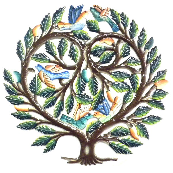 24-inch Painted Tree of Life Heart Metal Wall Art (Haiti)