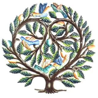 24-inch Painted Tree of Life Heart Metal Wall Art (Haiti)