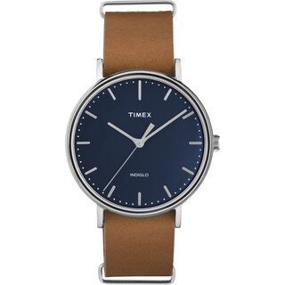 Timex Unisex TW2P978009J Weekender Fairfield 41 Tan/Blue Leather/Brass/Mineral/Stainless Steel Slip-thru Strap Watch