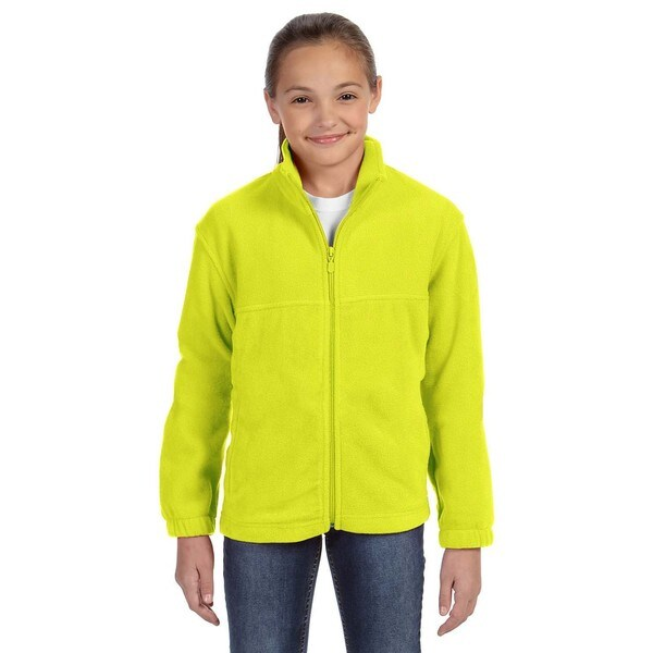 Youth Safety Yellow Polyester Full-zip Fleece