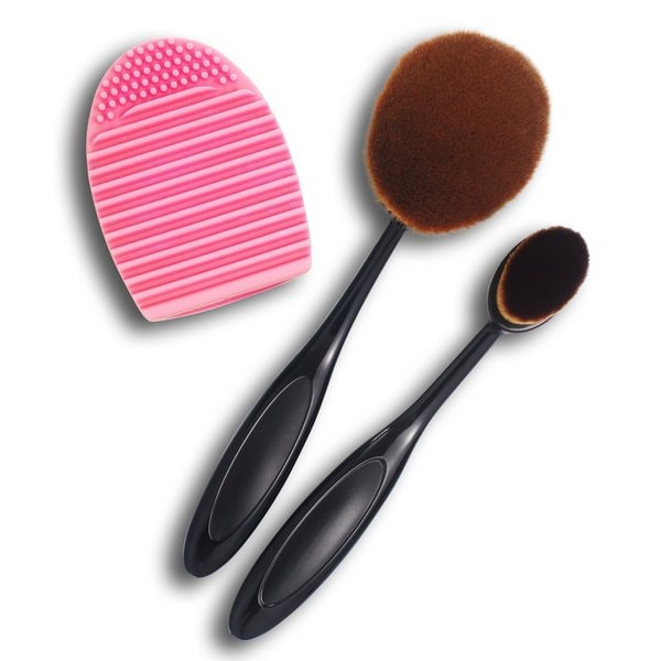 Zodaca 2-piece Cosmetic Oval Makeup Brushes (Small/ Large Head) with Pink Makeup Brush Cleaner Tool