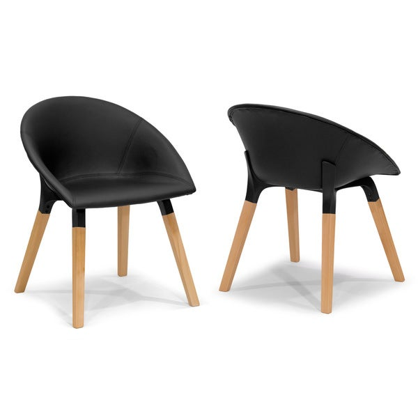 Adia Modern Black Faux Leather Chair with Beech Legs (Set of 2)