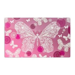 KESS InHouse Monika Strigel 'Butterfly Dreams Pink Ombre' Magenta Artistic Aluminum Magnet