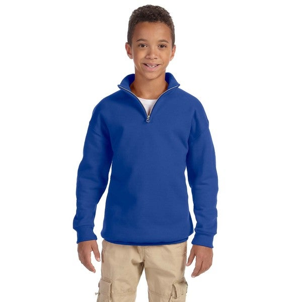 Boys' Royal Blue 50/50 Cotton/Polyester Nublend 8-ounce Quarter-zip Cadet Collar Sweatshirt