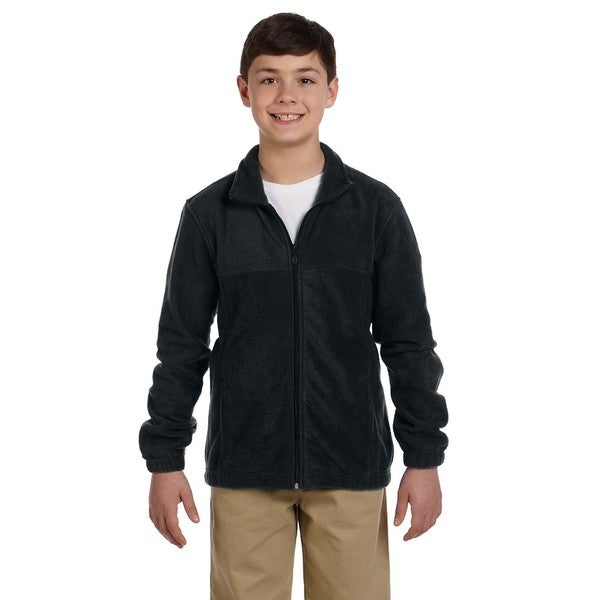 Youth Black 8-ounce Full-zip Fleece