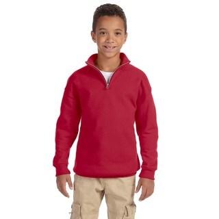 Youth True Red 50/50 NuBlend Cotton/Polyester Quarter-zip Cadet Collar Sweatshirt