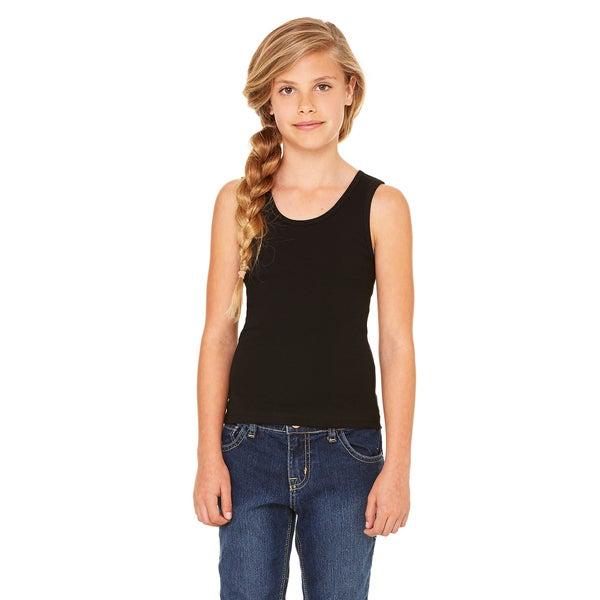 Stretch Girl's Black Rib Tank Top 19506226