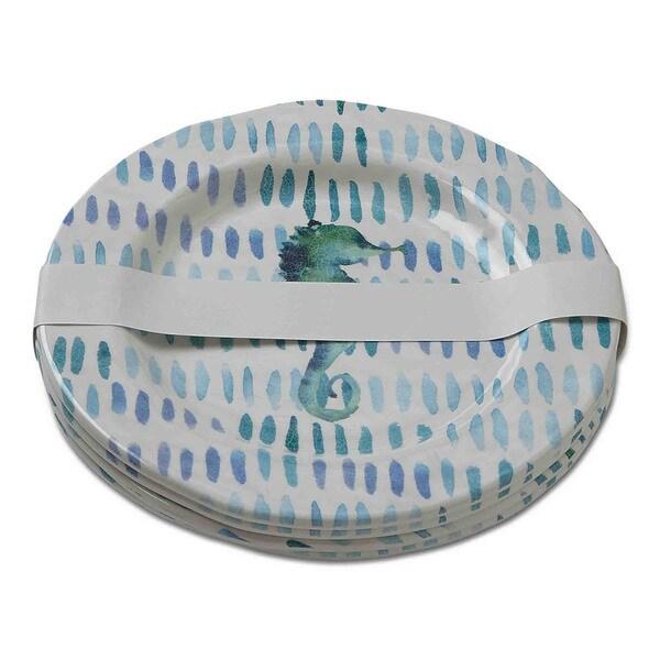 TAG Seahorse Melamine Salad Plates Ocean Blue
