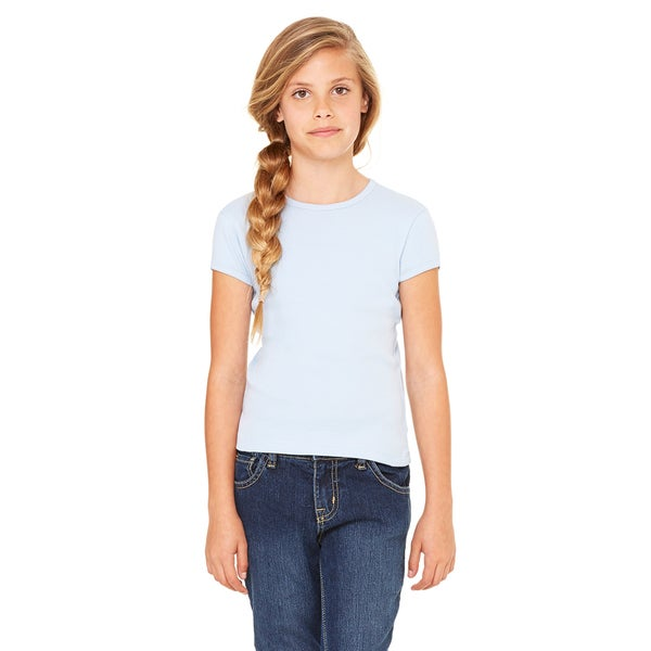 Girls' Baby Blue Cotton Stretch Rib Short-sleeve T-shirt