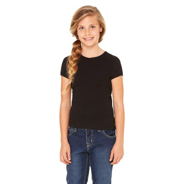 Girl's Stretch Rib Short-sleeve Black Cotton T-Shirt