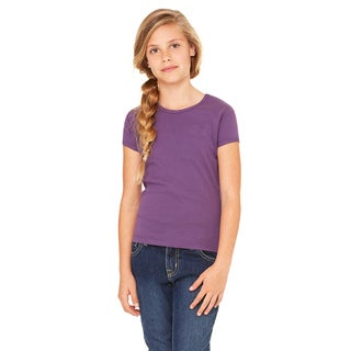 Girls' Purple Stretch Cotton Ribbed Short-Sleeved T-shirt
