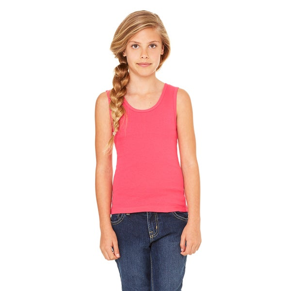 Girls' Fuscia Cotton Stretch Rib Tank
