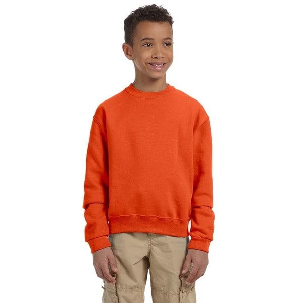 Nublend Boy's Burnt Orange Cotton Crew Neck Sweatshirt