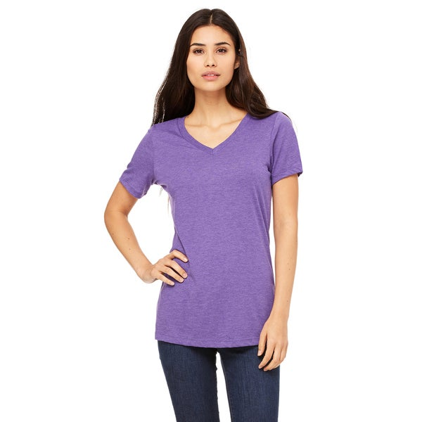 Missy's Girls' Relaxed Purple Triblend Short Sleeve V-neck T-shirt