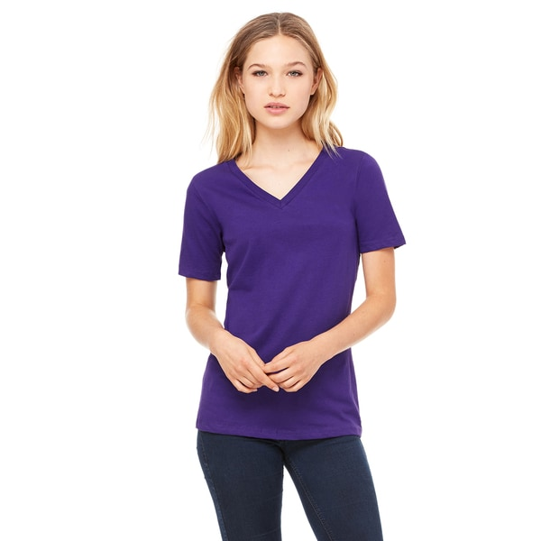 Missy's Girls' Team Purple Relaxed Jersey Short-sleeved V-neck T-shirt