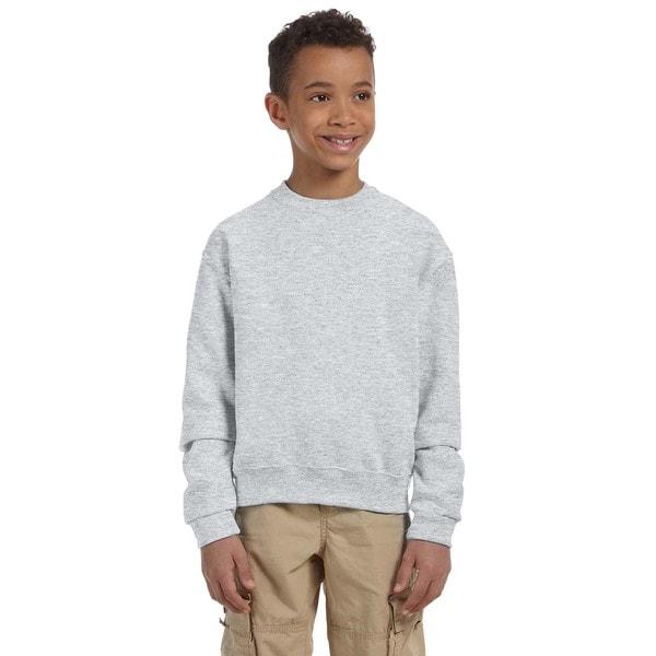 Jerzees NuBlend Boys' Ash Polyester/Cotton Crew Neck Sweatshirt