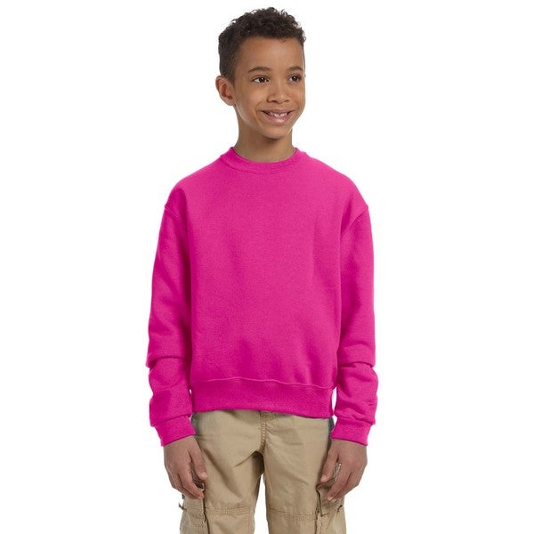 Nublend Boy's Cyber Pink Cotton Crew Neck Sweatshirt