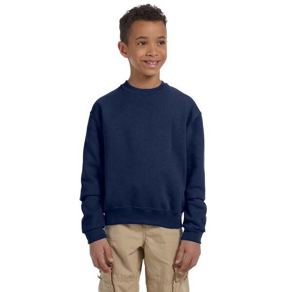 Nublend Boys' Navy Polyester and Cotton Crewneck Sweatshirt