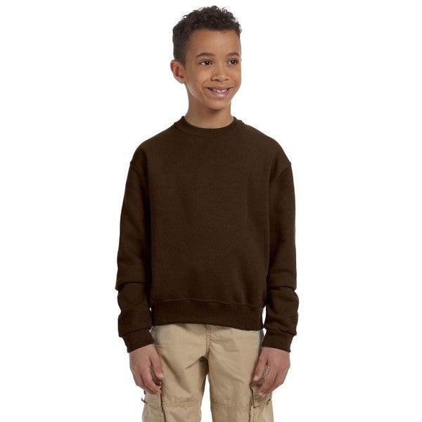 Nublend Boy's Brown Polyester Cotton Crew Neck Sweatshirt