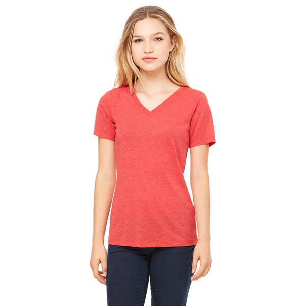 Missy's Girl's Red Triblend Relaxed Jersey Short-sleeved V-neck T-shirt
