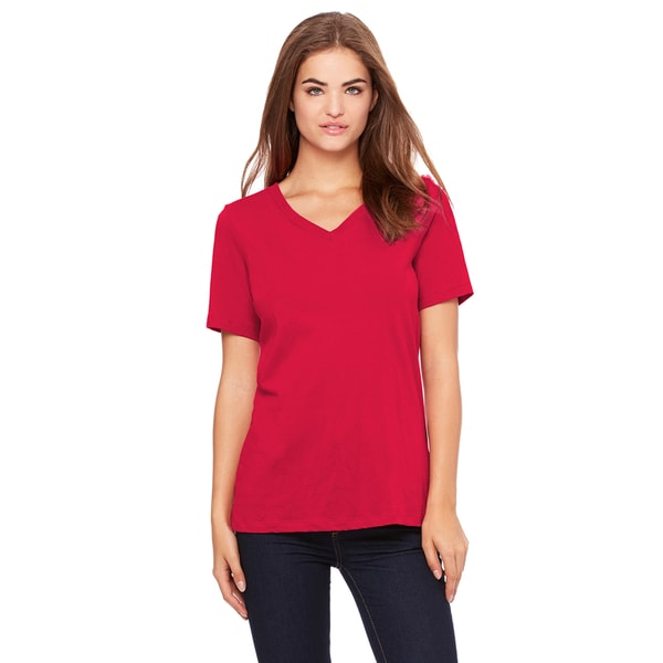 Girls Red Relaxed Jersey Short-sleeve V-neck T-shirt