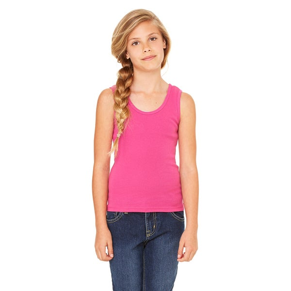 Stretch Girls' Berry Cotton Rib Tank Top