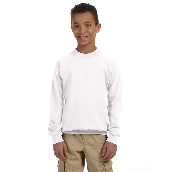 Boy's White Crew Neck Sweatshirt