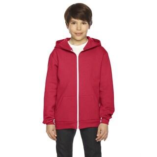 Flex Boys' Red Polyester Fleece Zip Hoodie
