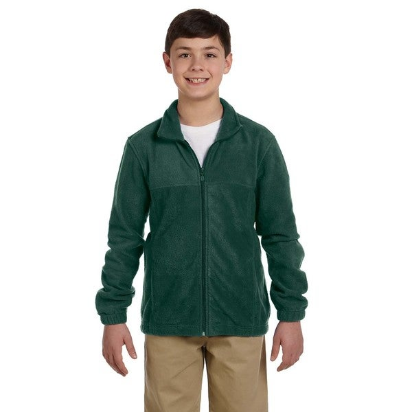 Youth Hunter Green Fleece Full-zip Jacket