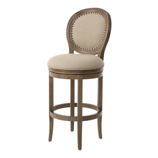 Naples Bay Distressed Natural Wood/Fabric Swivel Stool