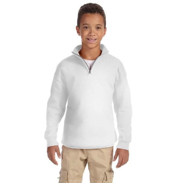 NuBlend Boys' White Cotton and Polyester 50/50 Quarter-zip Cadet Collar Sweatshirt